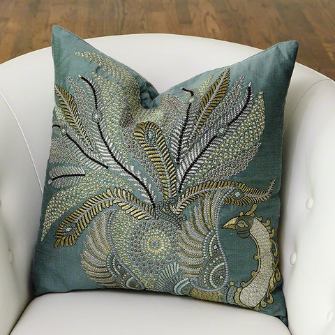 Sarangi Peacock Pillow-Jade