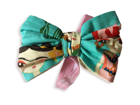 Headband - Baby Bow (Turquoise Frida w/pink band)