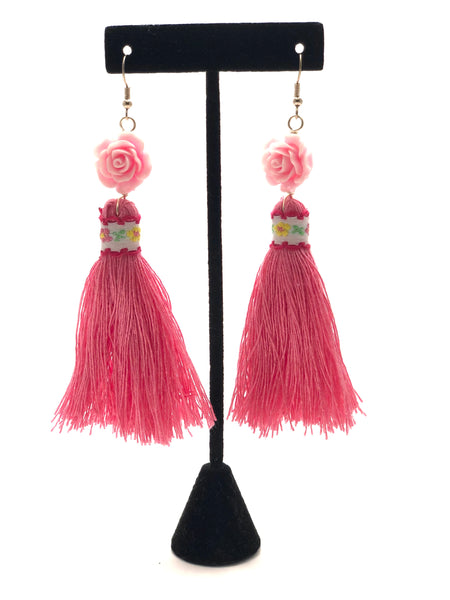 Earrings - Flower Tassle (Pink)