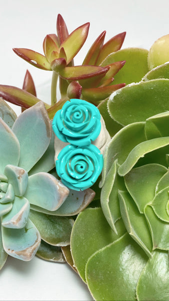 Earrings - Turquoise Roses