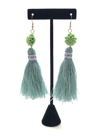 Earrings - Flower Tassle (Jade)