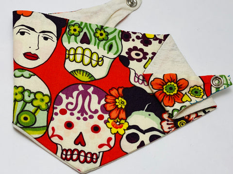 Doggy Hankie - Frida Skulls on Red (Small / Extra Small)
