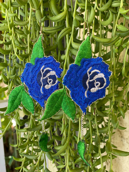 Earrings - Blue Flowers