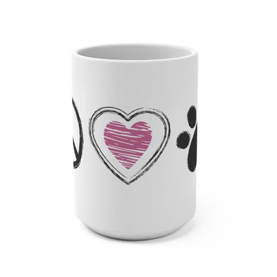 Peace, Love and Paws - Coffee Mug 15oz - Luv the Paw