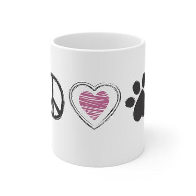 Peace, Love & Paws - Mug 11oz - Luv the Paw