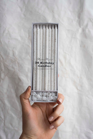Silver Glitter Birthday Candle Packet