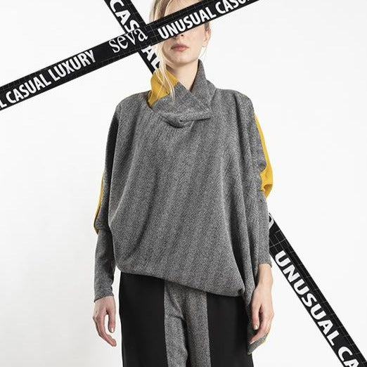 TUNIC GREY WITH DESIGN -  MUSTARD