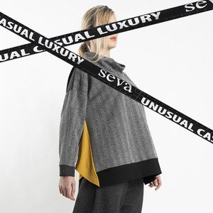 TUNIC GREY WITH LONG BACK AND MUSTARD TRIM