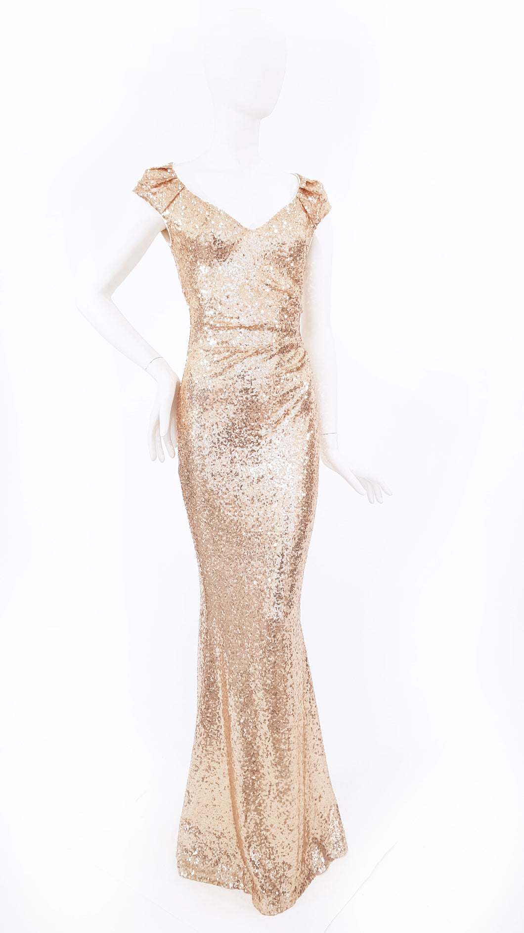 SEQUINNED DRESS WITH PLEATED SHOULDER