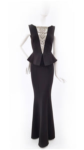 MAXI BLACK DRESS WITH EMBELLISHED BUSTIER