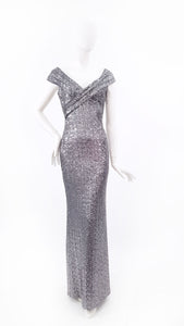 OFF-SHOULDER SEQUINNED MAXI DRESS IN SILVER GREY.
