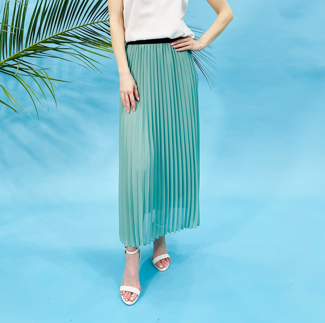 PLEATED CREP MIDI SKIRT - MINT