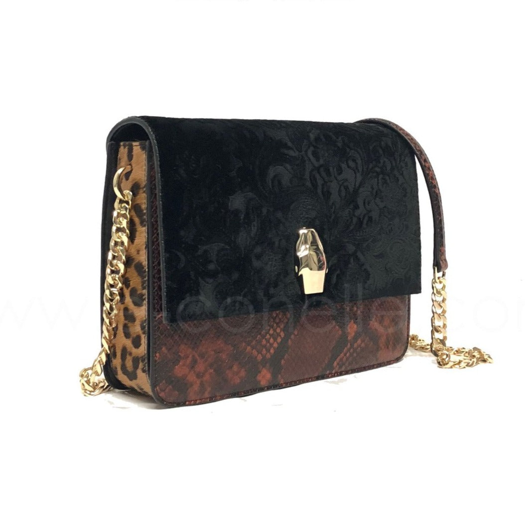 VELVET - SNAKE PRINT - LEOPARD MEDIUM SHOULDER BAG