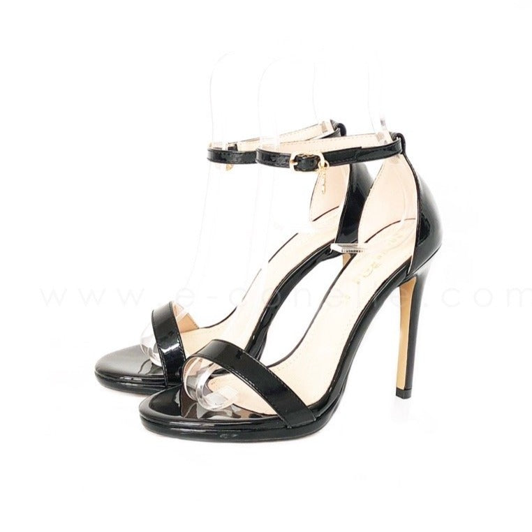 10CM HEELS FAUX LEATHER GLOSS BLACK