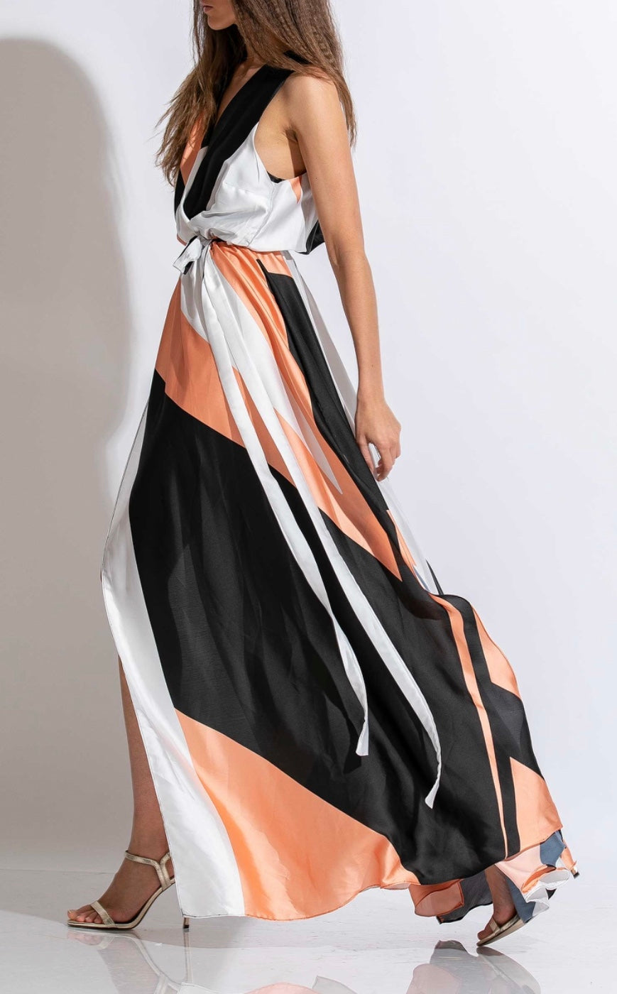 MAXI WRAP SATIN DRESS