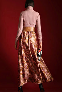 SATIN PRINTED SKIRT WITH BELT