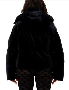 VELOUR PUFFER JACKET JC LOGO