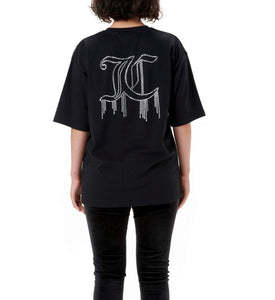 LOOSE BLOUSE WITH TEARDROP LOGO - BLACK