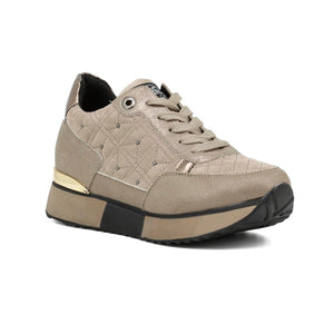 SNEAKERS QUILTED PATCHWORK - BEIGE