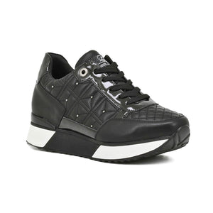 SNEAKERS QUILTED PATCHWORK - BLACK