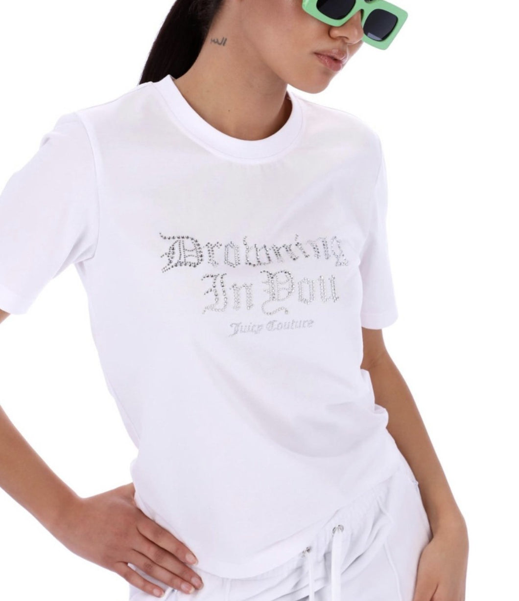 EMBELLISHED ' DROWNING IN YOU ' BLOUSE - WHITE