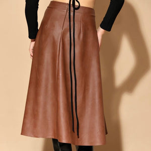 FAUX LEATHER MIDI SKIRT - BROWN