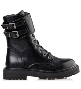 COMBAT BOOTIE SMALL STUDS DOUBLE BELTED