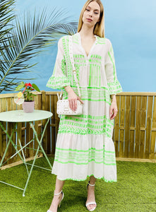 BOHO MAXI EMBROIDERED DRESS - GREEN