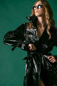 SHINY RAINCOAT - BLACK