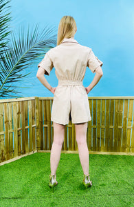 SAFARI PLAYSUIT - BEIGE & BLACK