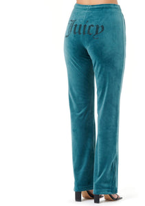EMBELLISHED JC VELOUR TROUSER GREEN
