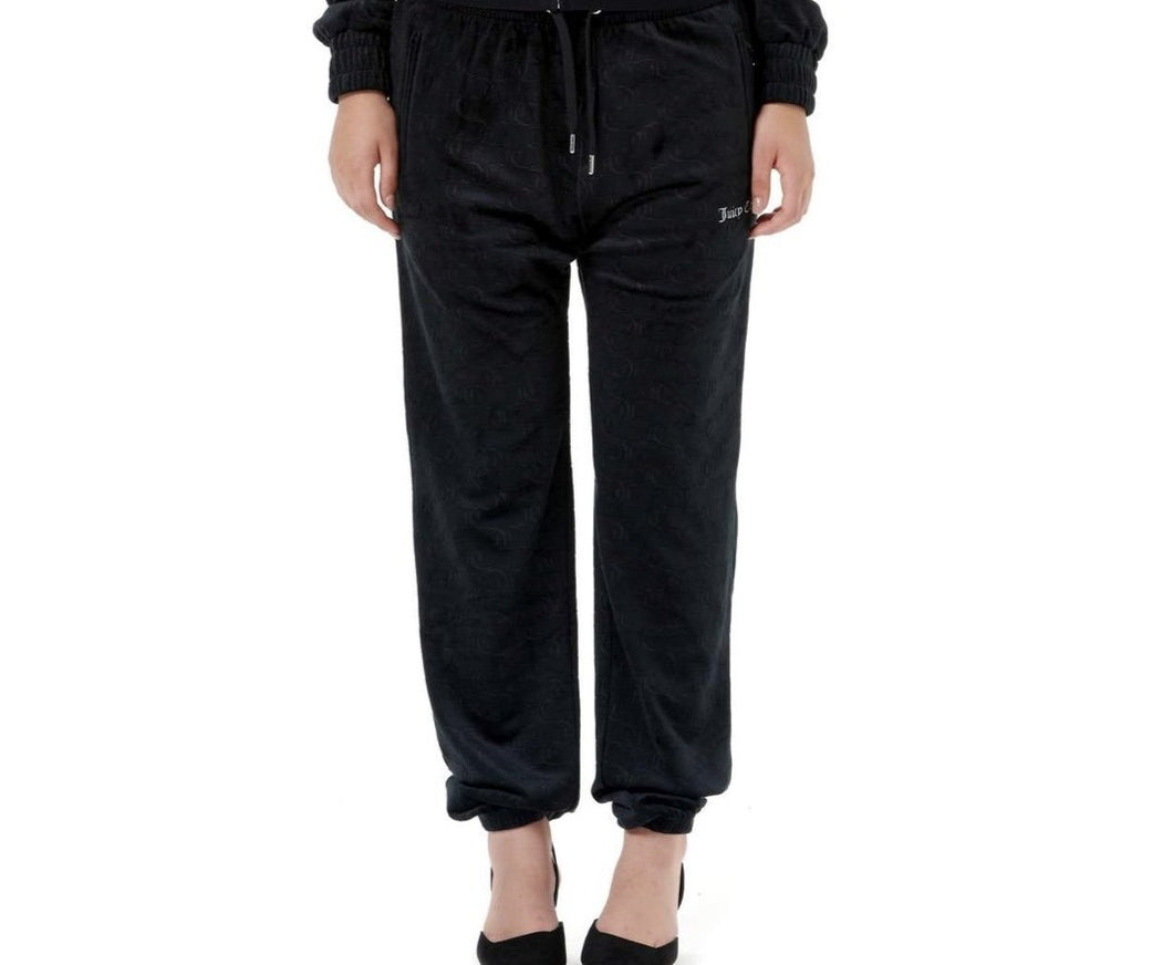 DEBOSSED JC VELOUR TROUSERS BLACK