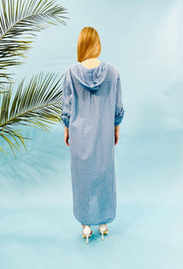 MAXI STRIPED SHIRT DRESS WITH HOODIE - INDIGO