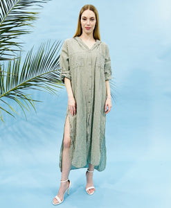 MAXI STRIPED SHIRT DRESS WITH HOODIE - KHAKI