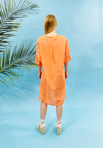 MINI STRIPED SHIRT DRESS - ORANGE