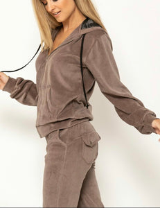 VELOUR TRACKSUIT 33 DESIGN - TAUPE