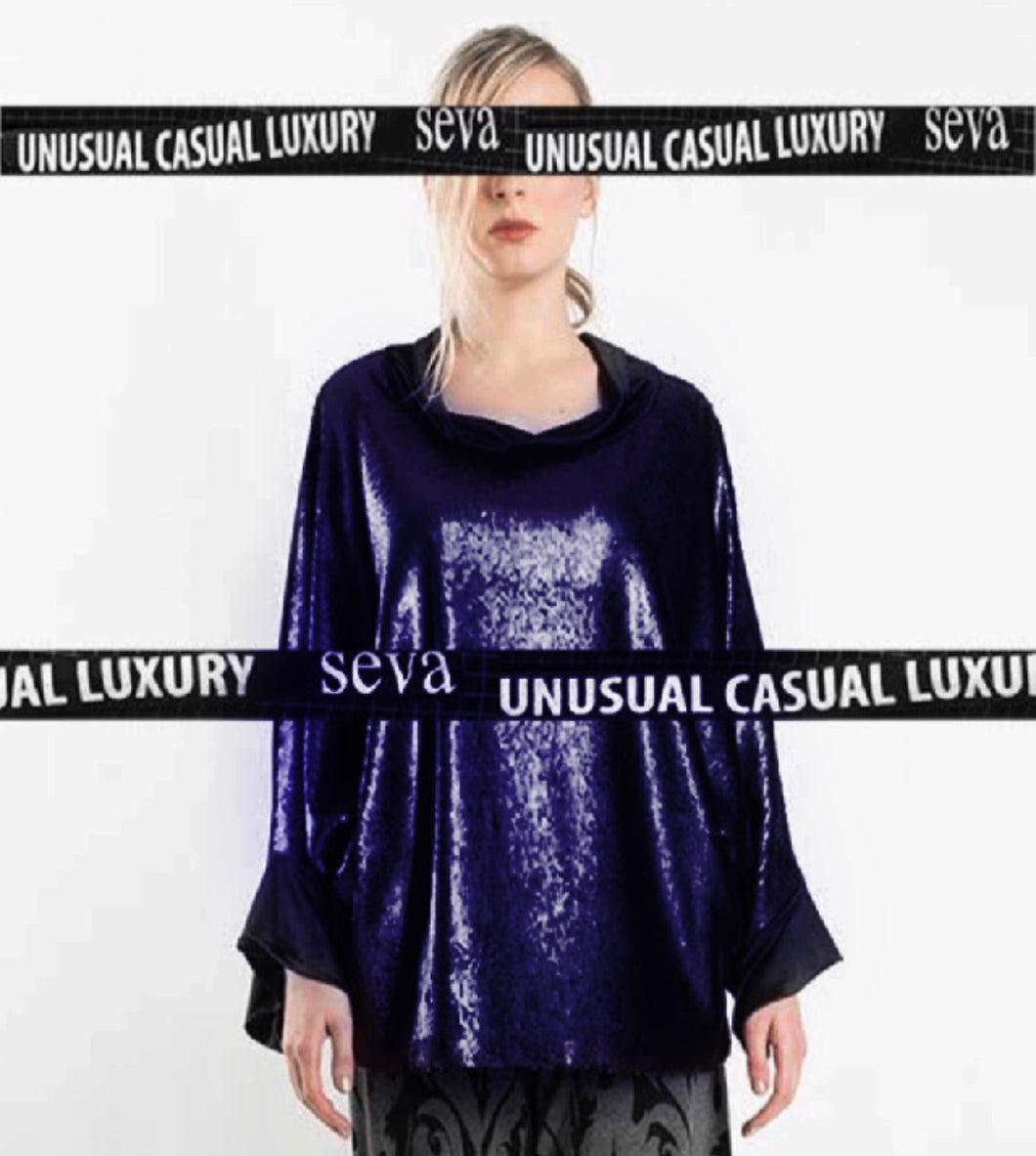 TUNIC WITH SEQUINNED FRONT - BLUE