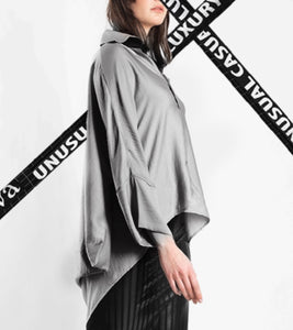 DRAPED BLOUSE - GREY