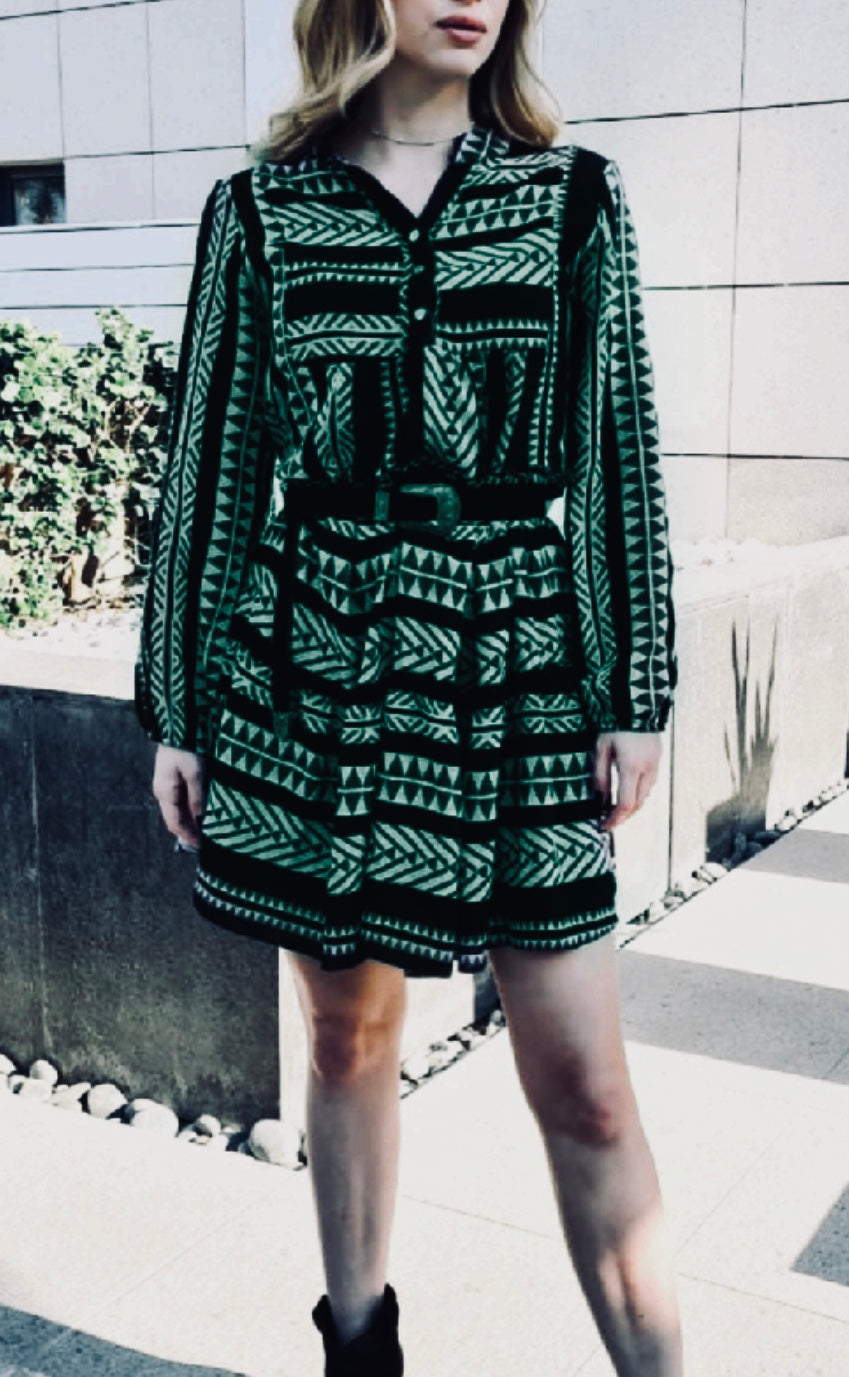 BOHEMIAN LUXURY PRINTED DRESS WITH BALLOON SLEEVES - GREEN