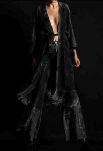 DEVORE KIMONO WITH FRINGES - BLACK