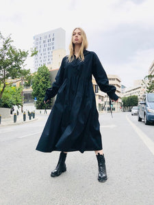 MAXI OVERSIZED DRESS WITH COLLAR - BLACK