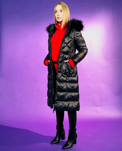 PUFF COAT WITH FUR TRIM HOODIE