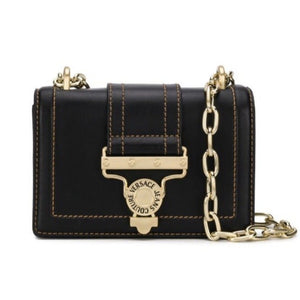 BLACK LEATHER SALOPETTE BUCKLE HANDBAG
