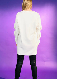 BLOUSE WITH FAUX-FUR HEARTS AND PEARLED DESIGN - 3 COLOURS