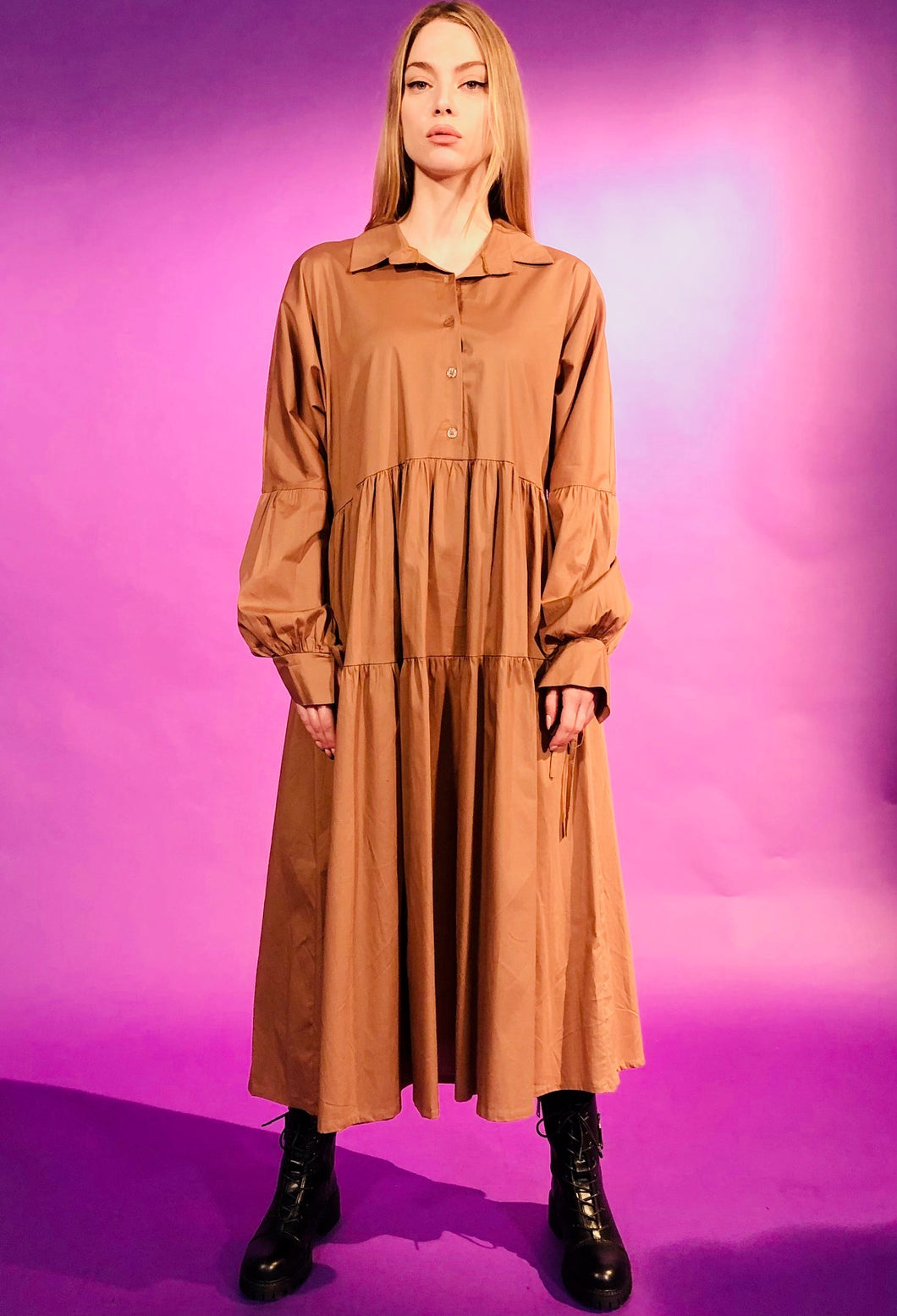 MAXI OVERSIZED DRESS WITH COLLAR - BROWN/BLUE/BEIGE