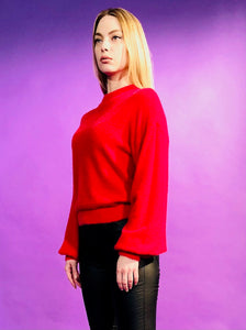 MOHAIR BLOUSE SEMI-HIGH NECK AND BALLOON SLEEVE - 4 COLOURS