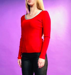 KNIT TOP WITH SILVER LINING - 5 COLOURS