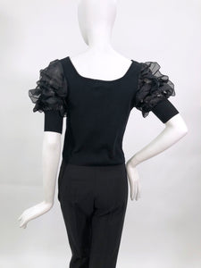BLOUSE WITH PUFF FRILLED SLEEVES  BLACK