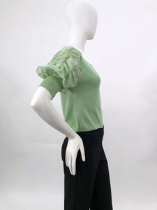 BLOUSE WITH PUFF FRILLED SLEEVES MINT