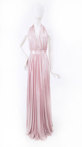 PINK PLEATED WRAP-STYLE DRESS
